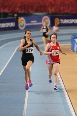 ISTANBUL, TURKEY - FEBRUARY 02, 2020: Athletes running during Turkish Indoor Athletics Championships