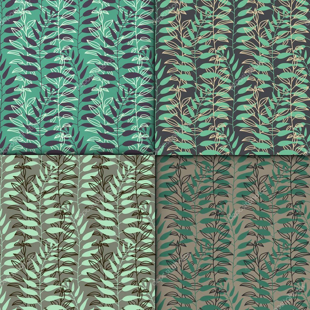 Background with leaves. Vector texture set with hand drawn leaves and plants. Vector pattern. Stylised flat different kind of leaves, natural background.