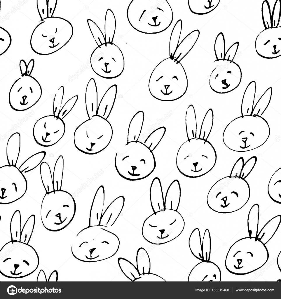 Patrón de la cara de lindo conejo. Fondo dibujado a mano sin costura ...