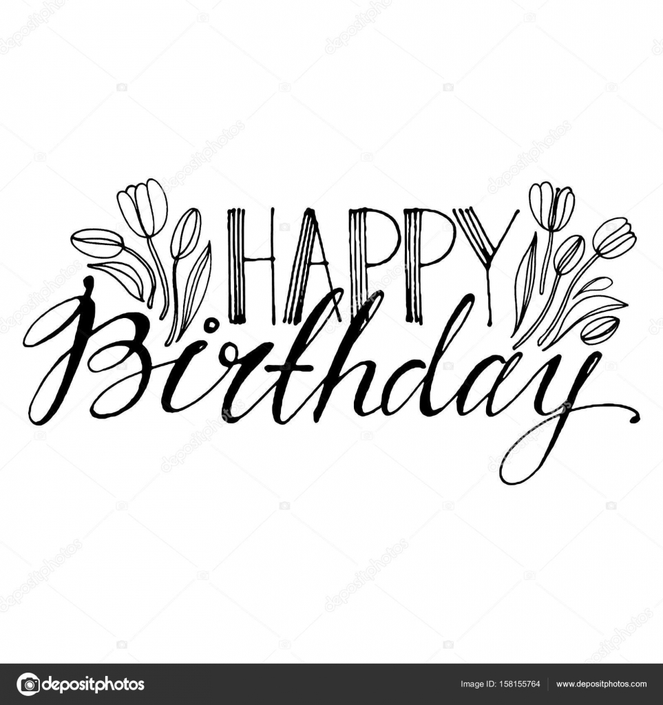 Hand drawn vector lettering words happy birthday with flowers by words happy birthday with flowers by hand isolated vector illustration izmirmasajfo Choice Image