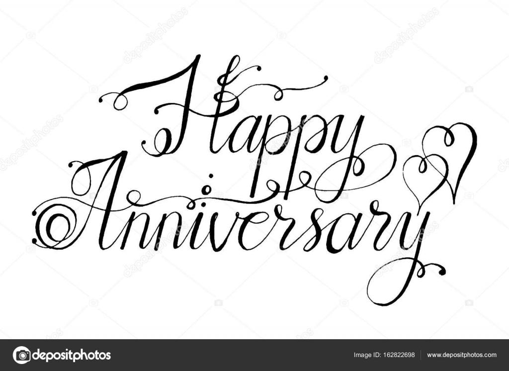 Letras de vector dibujado a mano. Palabras feliz aniversario a mano ...