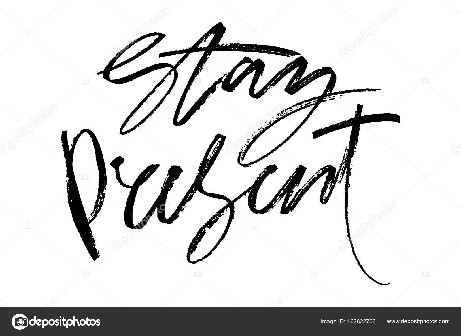 Letras de vector dibujado a mano. Palabras alojarte presente a mano ...