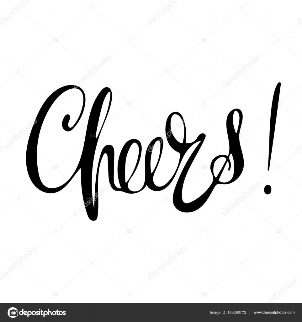 Hand drawn vector lettering word cheers by isolated