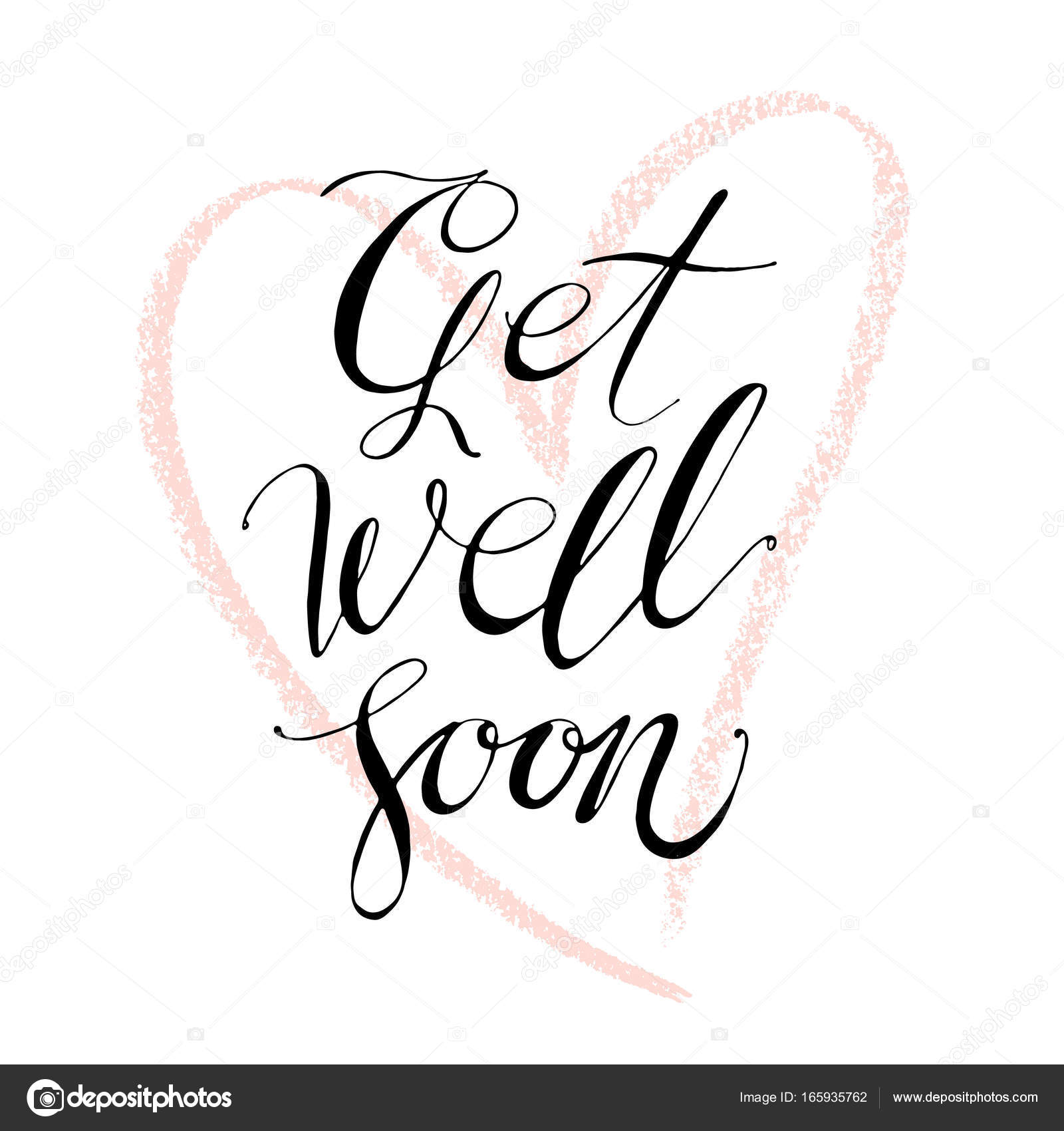 Hand Drawn Vector Lettering Words Get Well Soon By Hand Isolated
