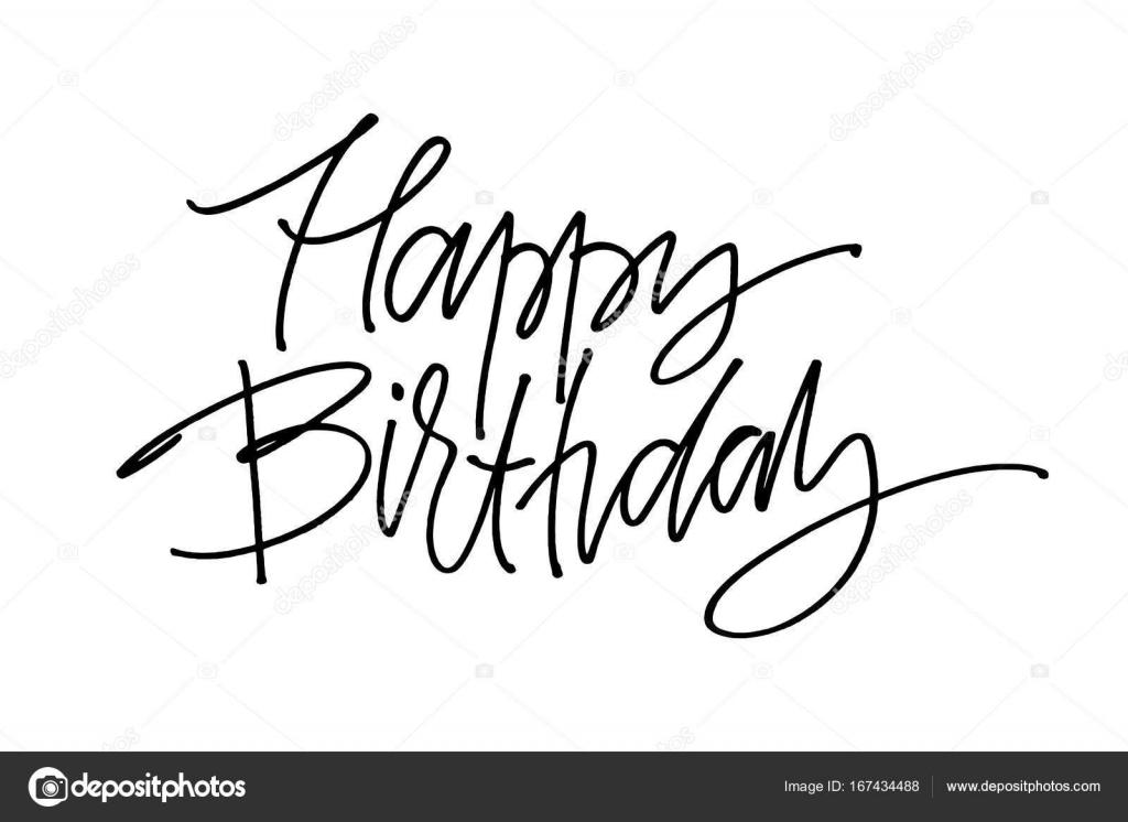 Letras de vector dibujado a mano. Palabras feliz cumpleaños a mano ...