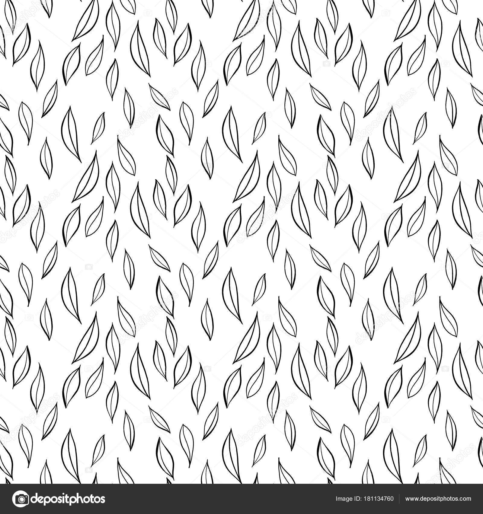 Hand Drawn Simple Leaves Botanical Pattern Seamless Vector