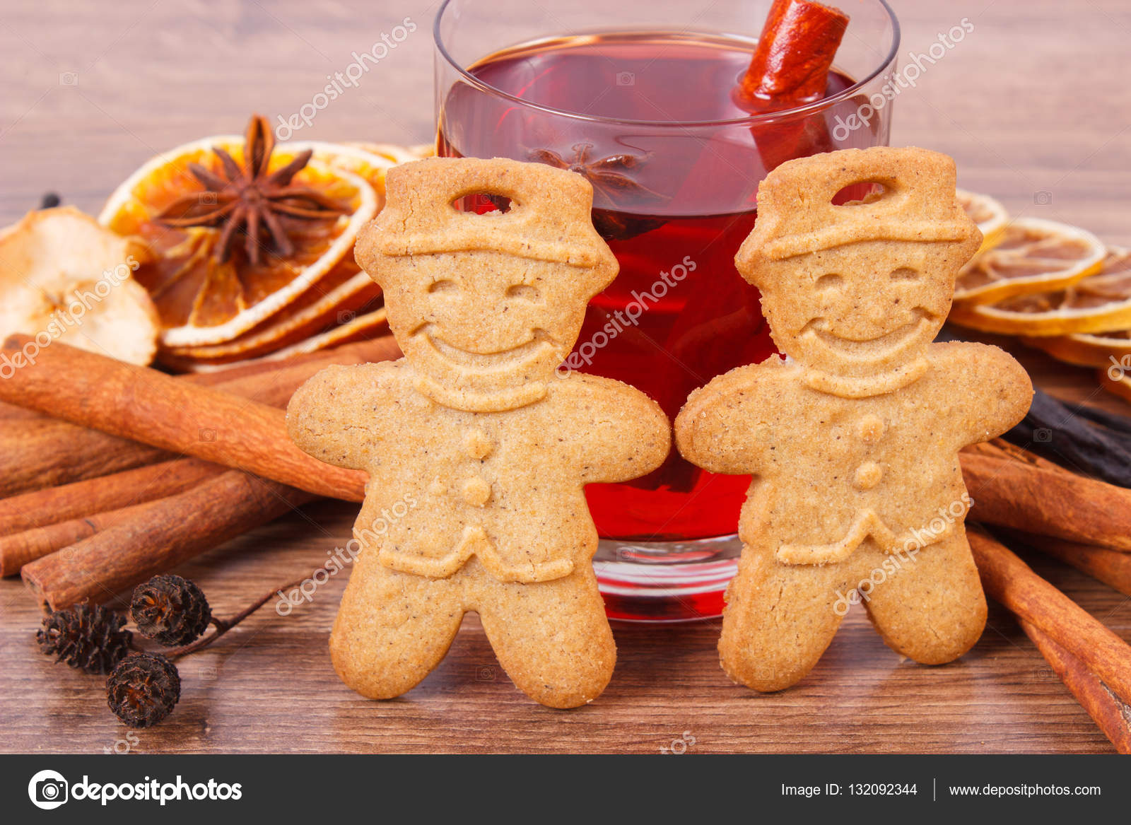 Gingerbread Or Christmas Cookies Glass Of Mulled Wine And Spices