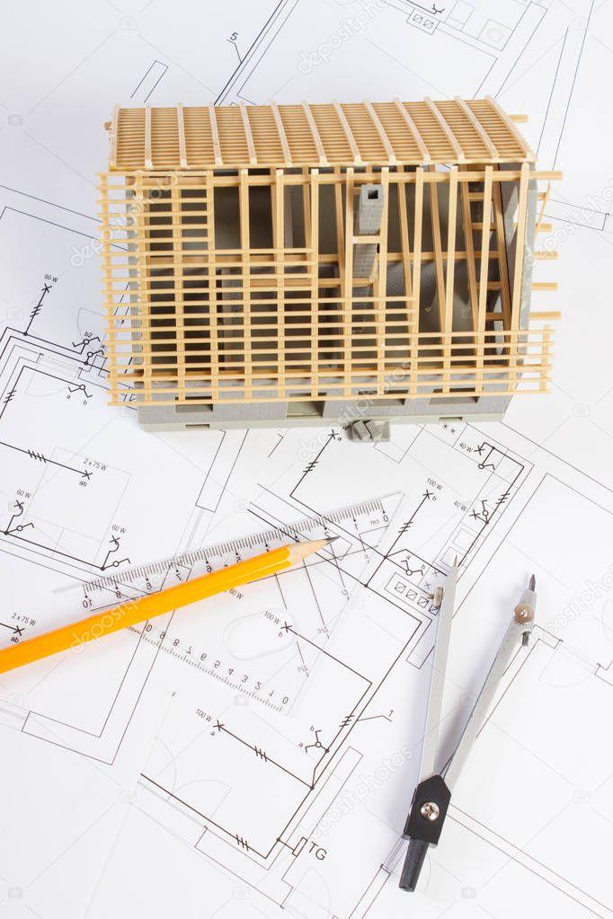 Hausbau im Bau und Zubehör zum Zeichnen auf elektrische Schaltpläne ...