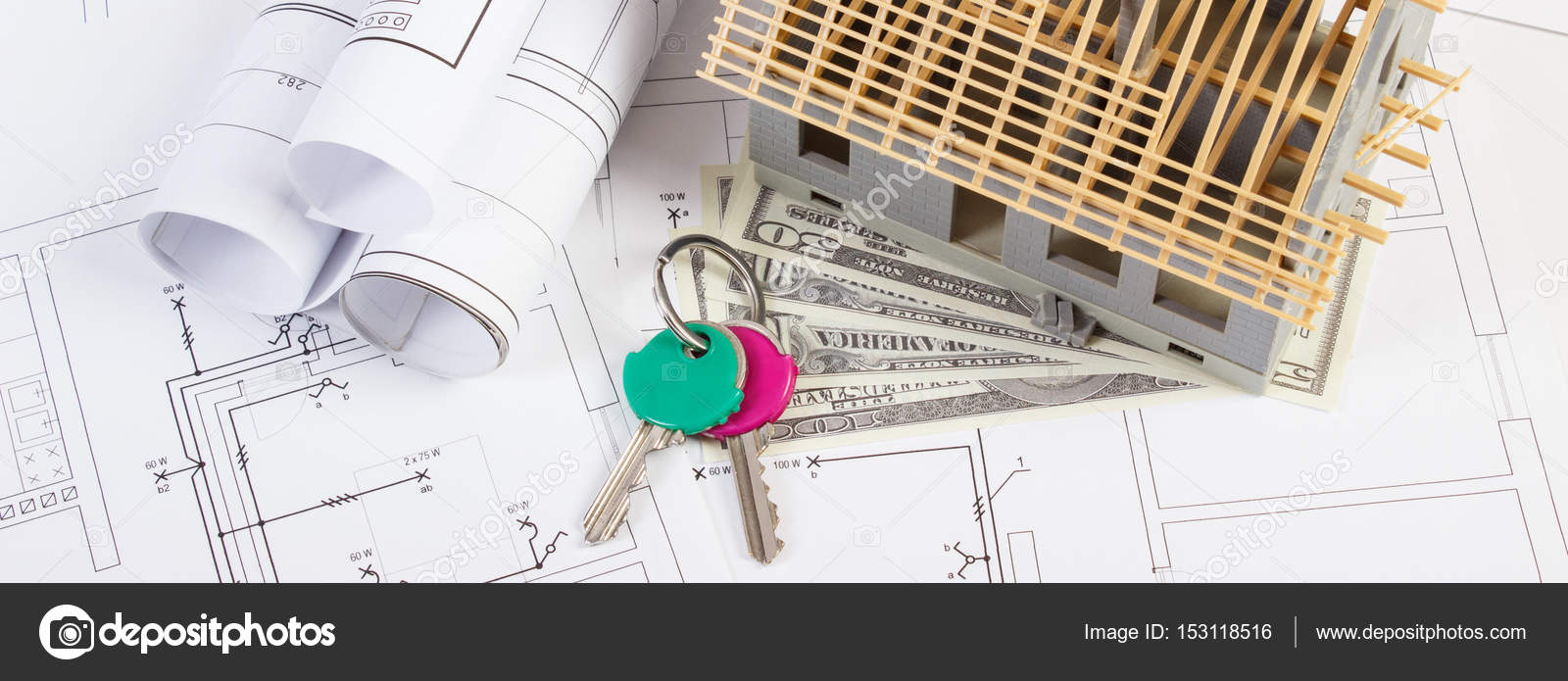 Schemi Elettrici Per Casa : Casa in costruzione dollaro valute e tasti su schemi elettrici e