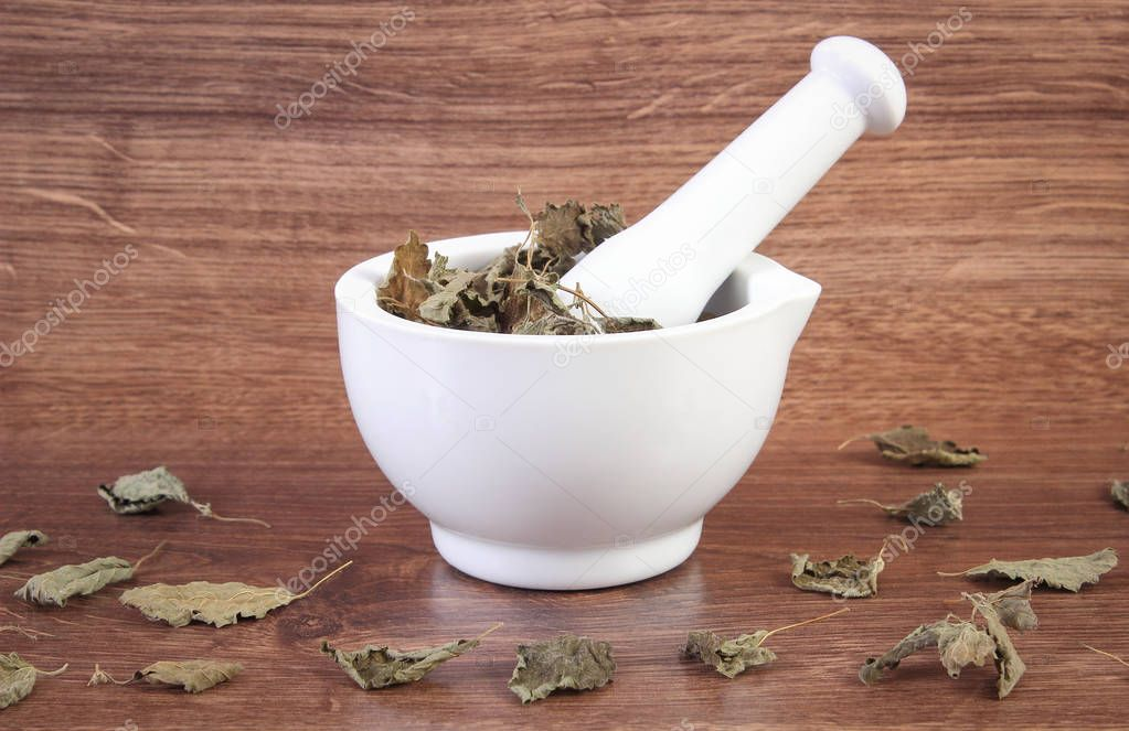 Dried lemon balm in white mortar, concept of herbalism and alternative medicine