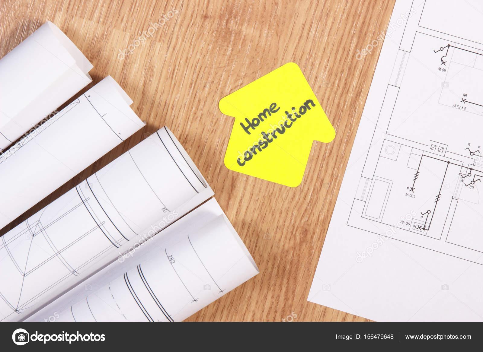 Great Diagrammen Oder Elektrische Konstruktionszeichnungen Und Gelbem Papier In  Form Eines Hauses Mit Text Hausbau Konzept Des Gebäudes Nach Hause U2014 Foto  Von ...