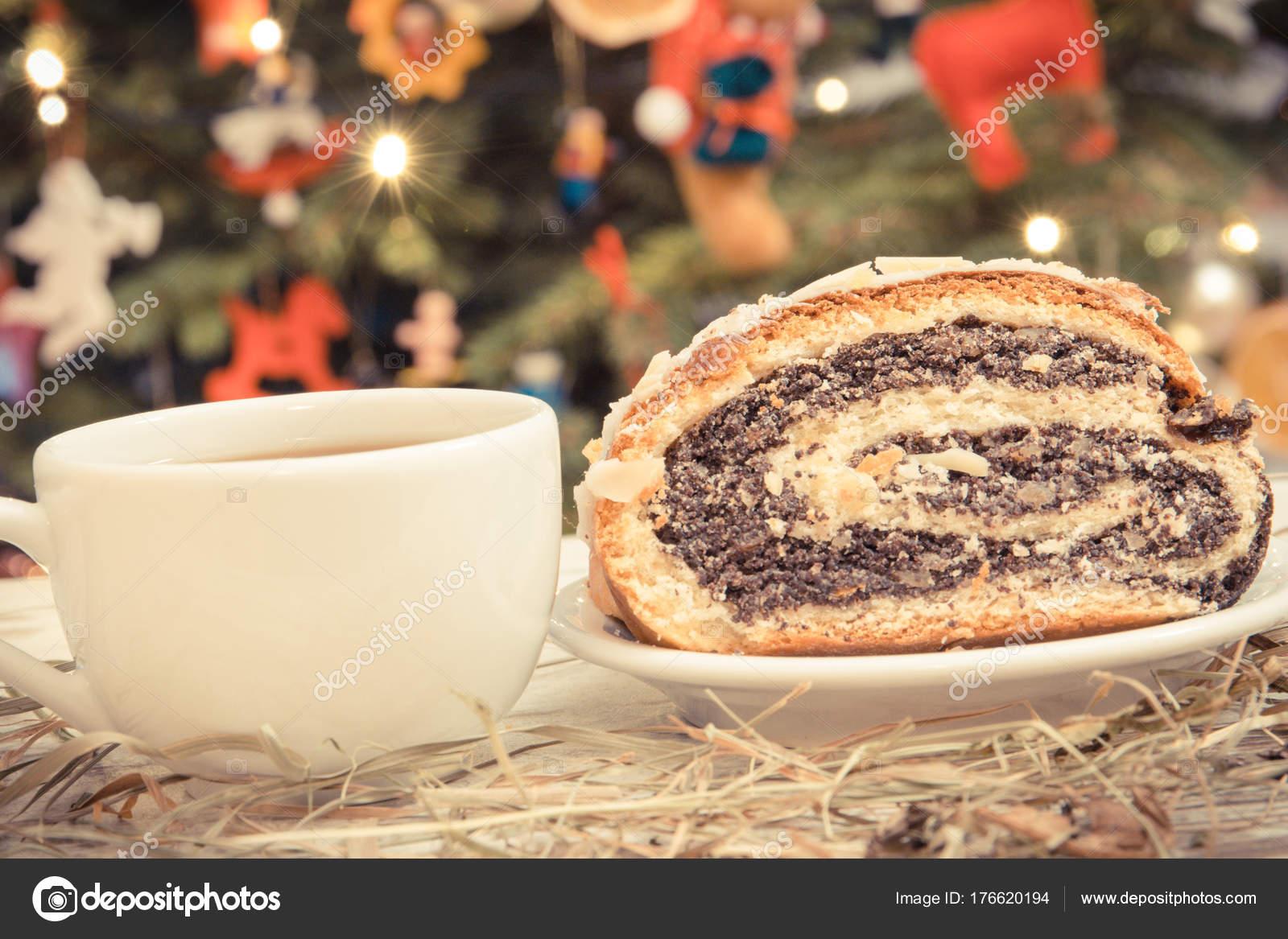 Weihnachtsbaum Samen.Vintage Foto Samen Mohn Kuchen Kaffee Oder Tee Und Weihnachtsbaum