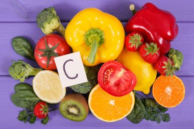 Fruits and vegetables as sources vitamin C, dietary fiber and minerals, strengthening immunity and healthy eating