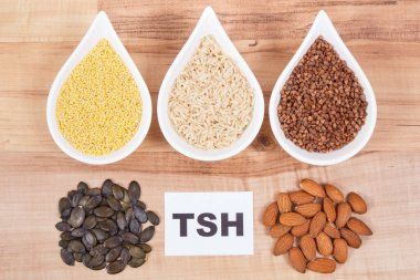 Dietary and beneficial eating for thyroid gland. Food as source natural healthy vitamins and minerals