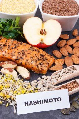 Beneficial nutritious eating for thyroid gland. Healthy ingredients as source natural vitamins and minerals