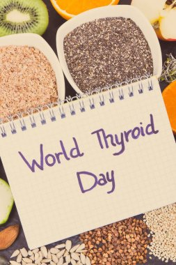 Notepad with inscription World Thyroid Day and best nutritious ingredients for healthy thyroid