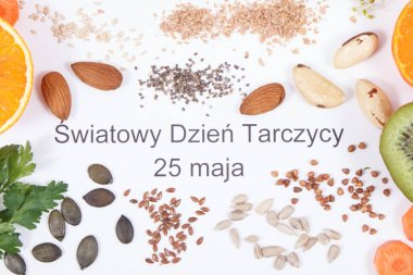 Polish inscription World Thyroid Day 25 May and best nutritious ingredients for healthy thyroid. White background