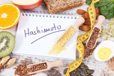 Notepad with inscription hashimoto, tape measure and best nutritious ingredients or products for healthy thyroid