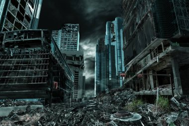 Cinematic Portrayal of Destroyed and Deserted City