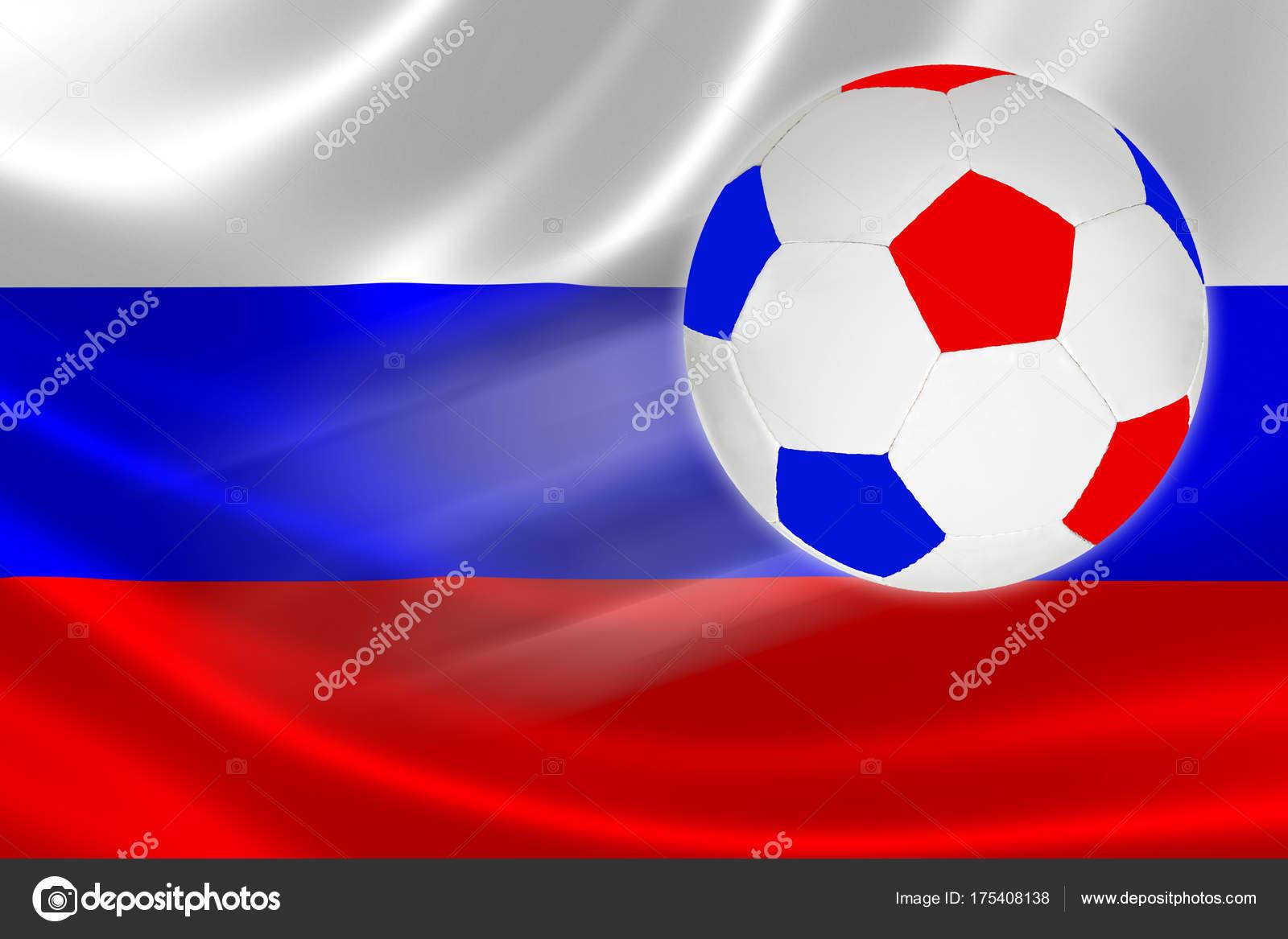 Fußball in der russischen Flagge Farben fliegen über russische ...