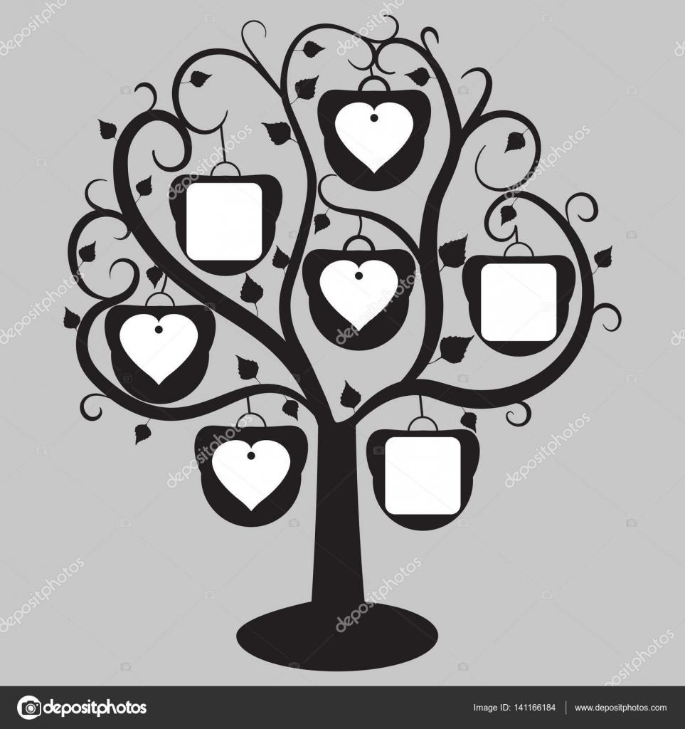 Baum mit herzförmigen Rahmen für die Fotos, auf einem grauen ...