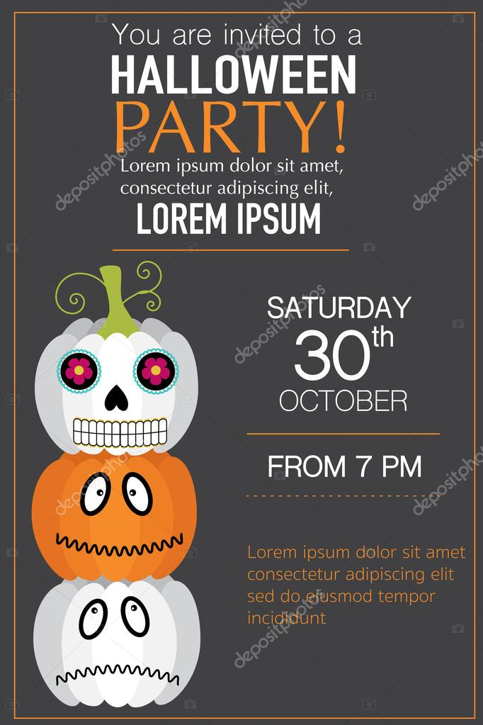 Halloween Party Invitation Cards With Jack O Lantern Vector