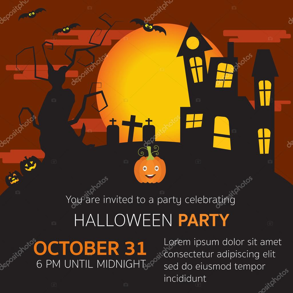 Halloween Party Einladung Horror Haus, Friedhof, Kürbisse, Alte U2014  Stockvektor #126018948