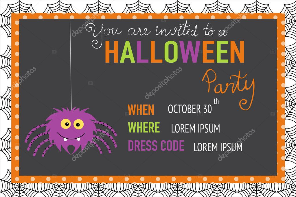 halloween party invitation cards spider web background with han stock vector 126020146