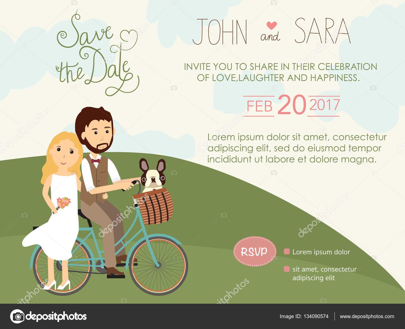 Hochzeit Einladungskarten Mit Braut Und Bräutigam Und Ihren Mops Hund U2014  Stockvektor