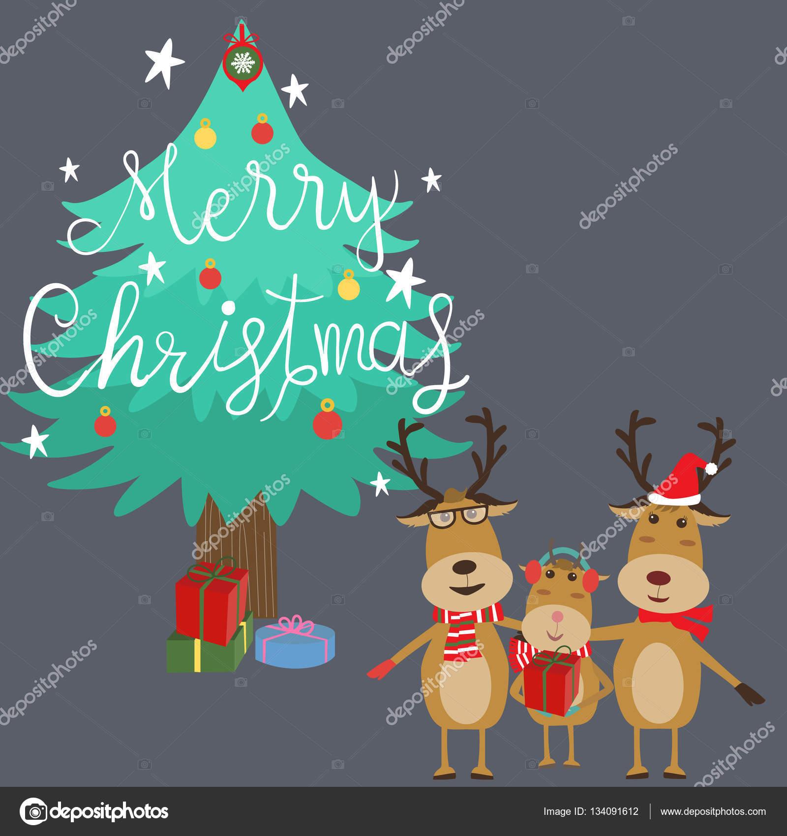 Frohe Weihnachten Familie.Frohe Weihnachten Rentier Familie Vater Tochter Mutter Hand Le