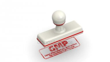 GMP - Good Manufacturing Practice for medicinal products. Stamp leaves a imprint