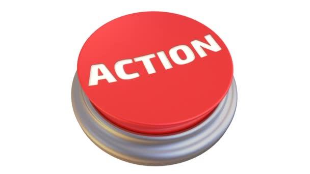 Tlačítko s slovem akci v akci. Kulaté červené tlačítko se slovem akce po stisknutí tlačítka se zabarví zeleně. Záznam videa
