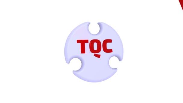 TQC. přepravní kontrola kvality. Zaškrtávací značka v podobě puzzle. Nápis Tqc - Total Quality Control na puzzle ve tvaru kruhu. Záznam videa
