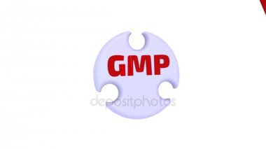 GMP. Good Manufacturing Practice. The inscription - GMP. Good Manufacturing Practice on the puzzle in the shape of a circle. Footage video