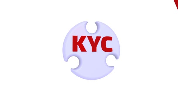 KYC. Know Your Customers. The check mark in the form of a puzzle. The inscription KYC. Know Your Customers on the puzzle in the shape of a circle. Footage video