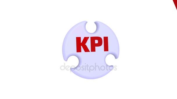 KPI (Key Performance Indicator). The inscription KPI - Key Performance Indicator on the puzzle in the shape of a circle. Footage video