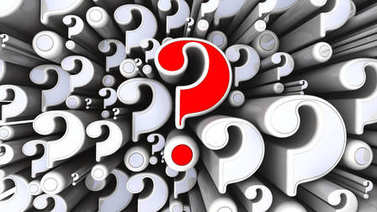 Some questions. A lot of different-sized question symbols and one red question mark. 3D Illustration