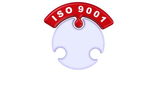 ISO 9001, Iso 14001, Iso 22000. Zaškrtávací značka v podobě puzzle. Nápis Iso 9001, Iso 14001, Iso 22000 s prvky puzzle ve tvaru kruhu. Záznam videa
