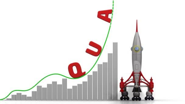 Růst ukazatelů kvality. Graf z rychlého růstu s slovo kvalita a odpálení rakety. Záznam videa