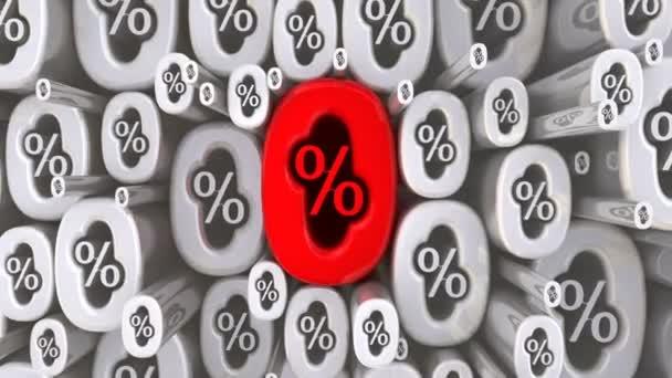 Symboly nula procent v pohybu. Mnoho různě velké symboly nula procent v pohybu jako pozadí. Záznam videa
