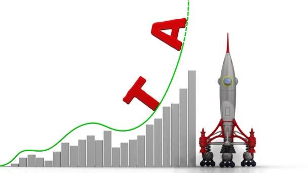 A grafikon a adó növekedés. Grafikon a gyors növekedés szót adó, és a rakéta-dob. Felvételeket videóinak