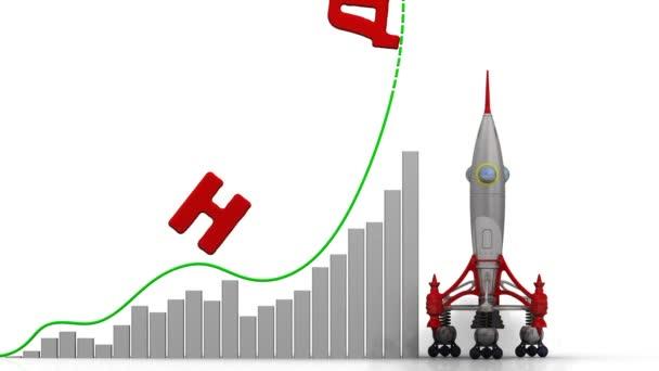 Graf růstu DPH (daň z přidané hodnoty). Graf z rychlého nárůstu hodnoty DPH (daň z přidané hodnoty) (ruský jazyk). Finanční koncept. Záznam videa