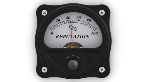 Reputation indicator in action. The analog indicator is showing the level of REPUTATION in percentages. Footage video