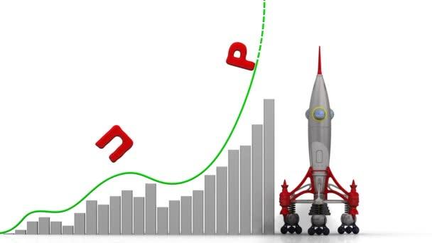 A grafikon, a gyors növekedés. Grafikon a gyors növekedés a word Profit (orosz nyelven) és a rakéta-dob. Felvételeket videóinak