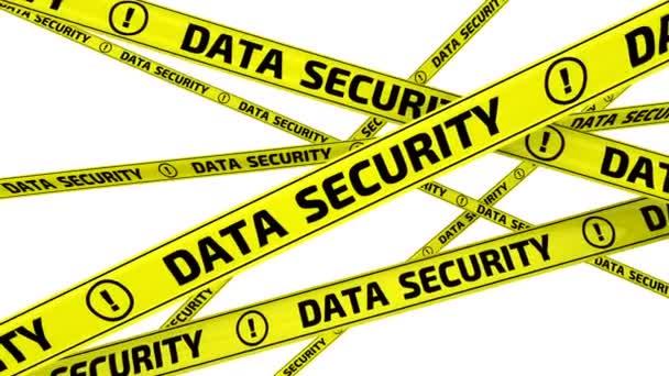 Bezpečnost dat. Žlutá výstraha pásky s nápisem bezpečnost dat v pohybu. Záznam videa
