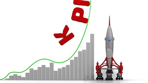 The graph of KPI (Key Performance Indicator) growth. Graph of rapid growth with word KPI and rocket launch. Footage video