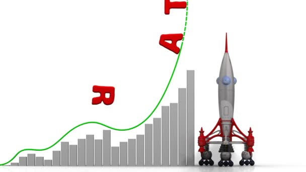 The graph of rating growth. Graph of rapid growth with word RATING and rocket launch. Footage video