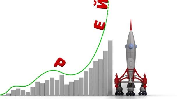 A grafikon a növekedés Értékelés. Grafikon a gyors növekedés a word értékelés (orosz nyelven) és a rakéta-dob. Felvételeket videóinak