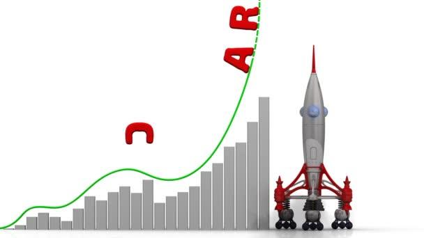 Graf, o kariérní růst. Graf z rychlého růstu s word kariéru a odpálení rakety. Záznam videa