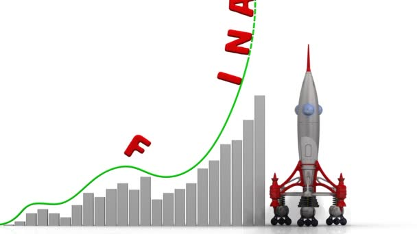 The graph of finance growth. Graph of rapid growth with word FINANCE and rocket launch. Footage video